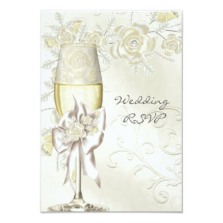 RSVP Wedding Gold Cream Pearl Floral Roses Card