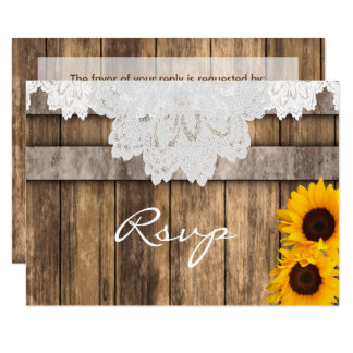 RSVP Wedding in a Rustic Wood and Lace Card