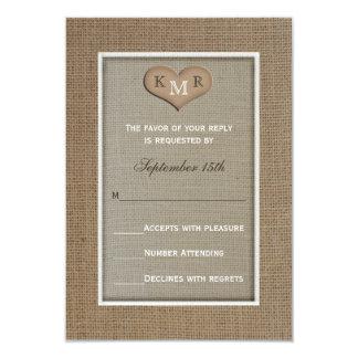 "RSVP Wedding Invitation -- Burlap 3.5"" X 5"" Invitation Card"