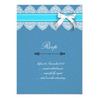 "RSVP wedding invitation card with lace & ribbon 5.5"" X 7.5"" Invitation Card"