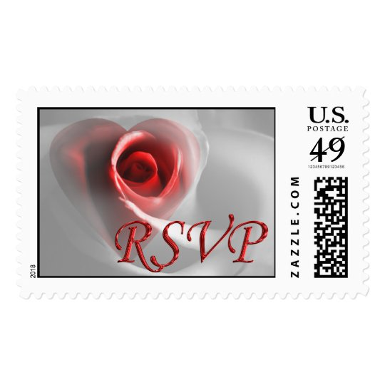 RSVP Wedding Invitation Pretty Rose Heart Photo Postage