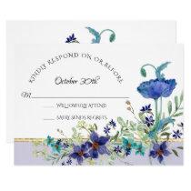 RSVP Wedding Lavender Blue Poppy Watercolor Floral Invitation