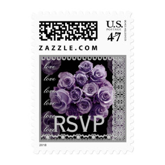 RSVP Wedding LAVENDER PURPLE Roses SILVER Lace Stamp
