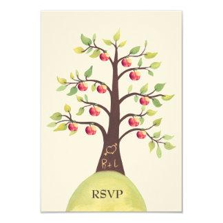 RSVP Wedding Monogram Apple Tree Carving Card