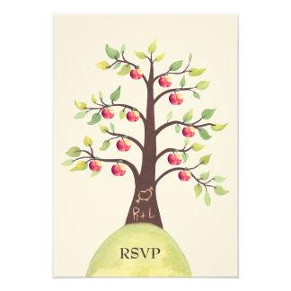 RSVP Wedding Monogram Apple Tree Carving Invite