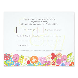 RSVP Wedding Monogram Summer Spring Flowers Cards