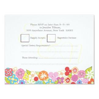 RSVP Wedding Monogram Summer Spring Flowers Cards
