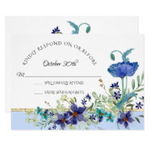 RSVP Wedding Pale Blue Poppy Watercolor Floral Invitation
