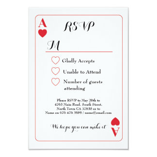 RSVP Wedding Playing Card Ace Of Hearts Invites