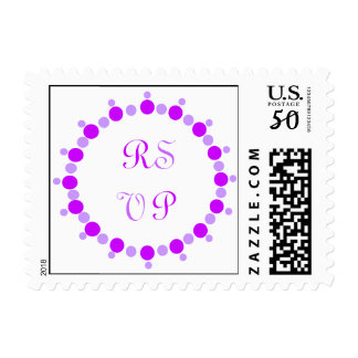 RSVP, wedding postage stamps, purple ring of dots