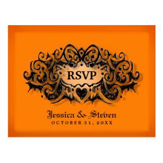 RSVP Wedding Postcard - Orange & Black Border