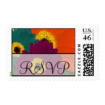 RSVP Wedding Purple Plum Orange and Sea Blue Teal Gerber Daisy Postage