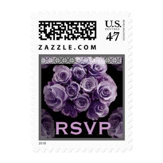 RSVP Wedding PURPLE Rose Bouquet Silver Lace Trim Postage