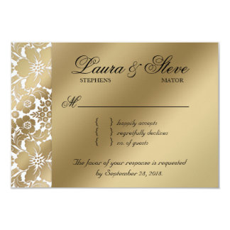 RSVP Wedding Reply Card Floral Damask Gold White