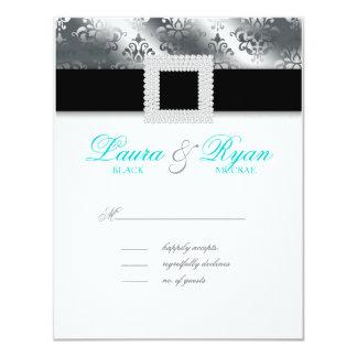 RSVP Wedding Reply Card Jewel Blue Silver