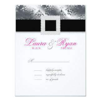 RSVP Wedding Reply Card Jewel Pink Silver