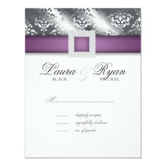 RSVP Wedding Reply Card Jewel Purple Silver