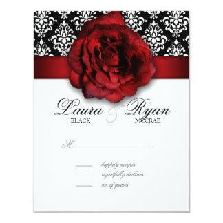 RSVP Wedding Reply Card Red Rose Damask