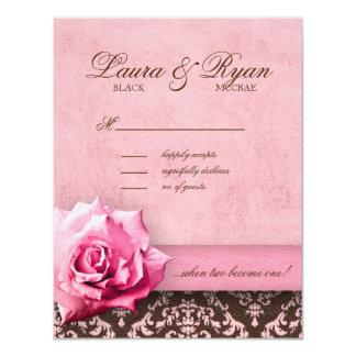 RSVP Wedding Reply Card Rose Flower Damask Leather