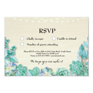 RSVP Wedding Rustic Mint Succulents Cards Invites