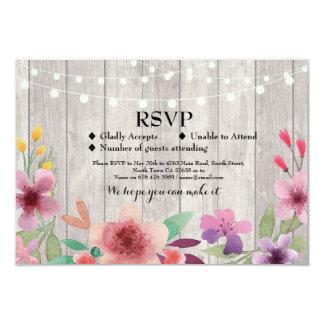 RSVP Wedding Rustic Wood Floral Cards Invites