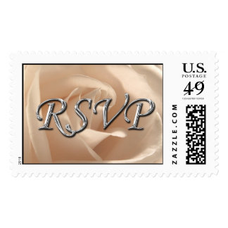 RSVP Wedding Silver Font Cream Rose Photo Stamp