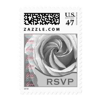 RSVP Wedding SILVER WHITE Rose Postage