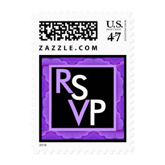 RSVP Wedding SMALL Stamp Purple & Black Edging