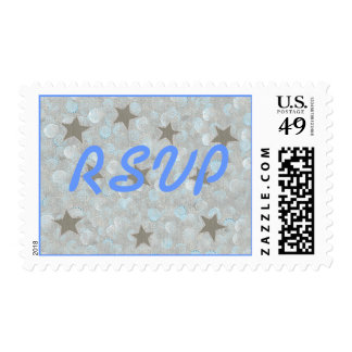 RSVP wedding stamps, blue gray bubbles & stars Postage