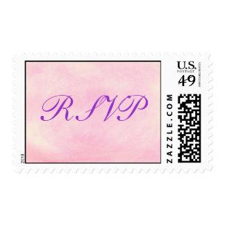 RSVP wedding stamps, purple on blended pink Postage