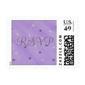 RSVP wedding stamps, purple silver stars Postage