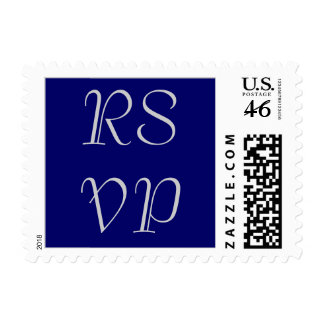 RSVP wedding stamps, silver gray on navy blue