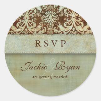RSVP Wedding Stickers Damask Brown Green Vintage