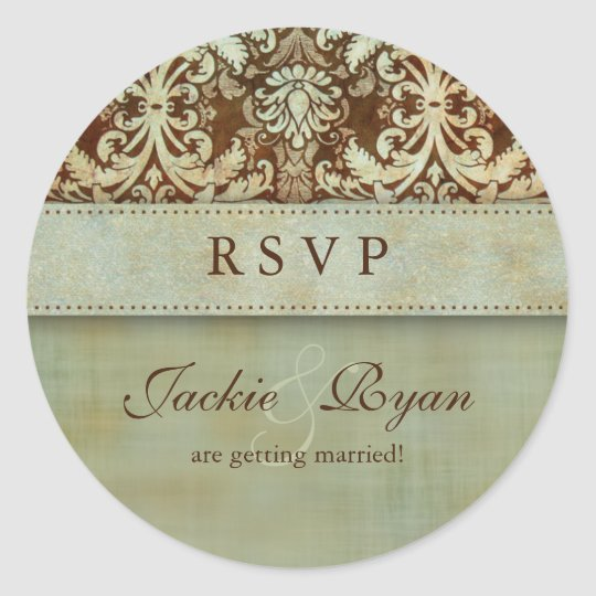 RSVP Wedding Stickers Damask Brown Green Vintage