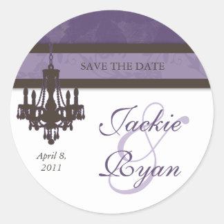 RSVP Wedding Stickers Damask Brown Purple Vintage