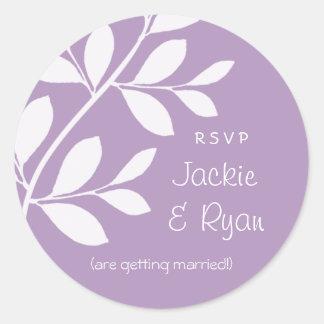 RSVP Wedding Stickers Leaf Branch Purple