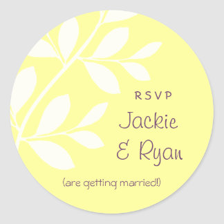 RSVP Wedding Stickers Leaf Branch Yellow Purple