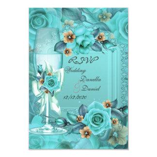 RSVP Wedding Teal Blue Beige Roses Flowers 3 Card