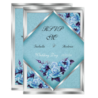 RSVP Wedding Teal Purple Roses Silver Bouquet Invitation
