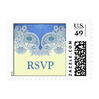 RSVP Wedding Victorian Blue Small Postage