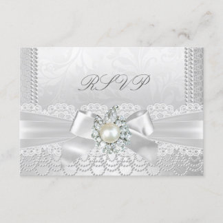 RSVP Wedding White Pearl Lace Damask Diamond