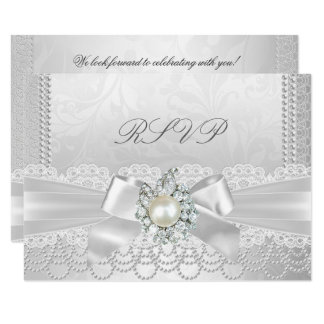 RSVP Wedding White Pearl Lace Damask Diamond Card