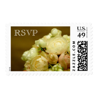 RSVP Wedding White Peony Bouquet USPS Stamp