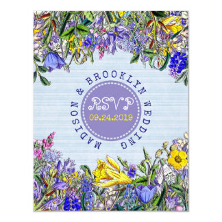RSVP Wedding Wildflowers Vintage Purple Flowers Card