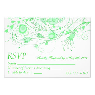 RSVP - Whimsical Minty Green Wedding 1 Invitation