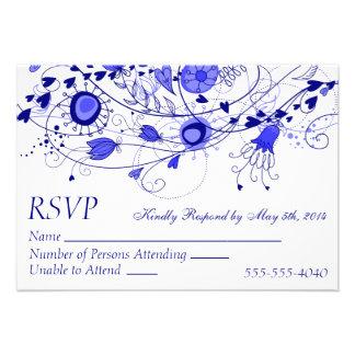 RSVP - Whimsical Navy Blue Wedding 1 Invitation
