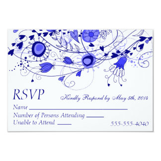 RSVP - Whimsical Navy Blue Wedding 1 3.5x5 Paper Invitation Card
