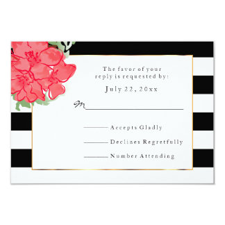 RSVP White & Black Stripes with Watercolor Flowers Card
