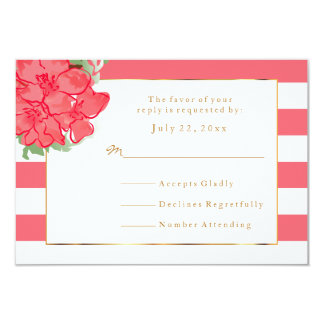 RSVP White & Coral Stripes with Watercolor Flowers Card