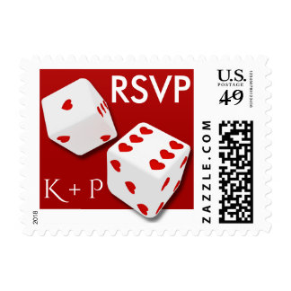 RSVP White Dice Red Hearts Love Wedding Postage